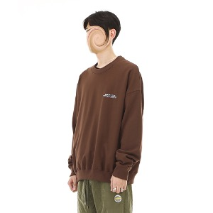 [RENDEZVOUZ] CONTRAST LOGO SWEAT TOP BROWN