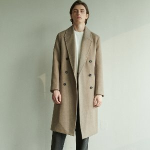 [ANOUTFIT] UNISEX SOLID ERBE DOUBLE COAT BROWN