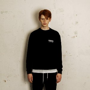 [YESEASY]  BOX LOGO SWEATSHIRT - BLACK
