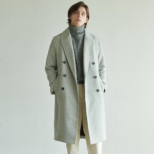 [ANOUTFIT] UNISEX SOLID ERBE DOUBLE COAT GREY