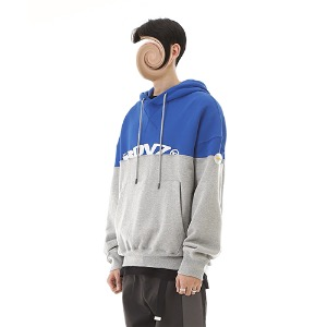[RENDEZVOUZ] TWO TONE BLOCK HOODIE BLUE/GREY
