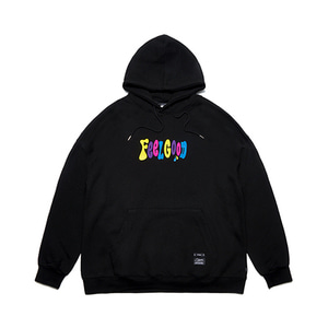 [STIGMA]MULTIPLE COLOR OVERSIZED HEAVY SWEAT HOODIE - BLACK