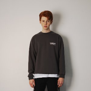 [YESEASY]  BOX LOGO SWEATSHIRT - CHARCOAL