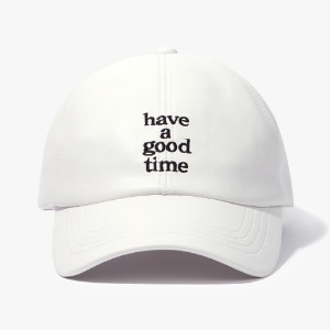 [have a good time] Logo Faux Leather Cap - White