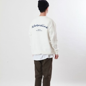 [Double adrenaline syndrome]chain back-point sweatshirt(ivory)