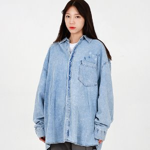 [OHVERDOSE]OVERSIZED SIGNATURE LOGO DENIM SHIRTS BLUE