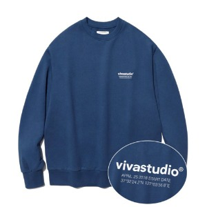 [viva studio] LOCATION LOGO CREWNECK IA [INDIGO BLUE]
