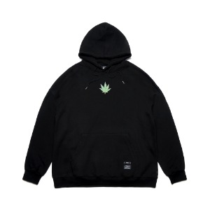 [STIGMA]LEAF OVERSIZED HEAVY SWEAT HOODIE - BLACK