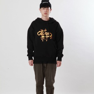 [Double adrenaline syndrome]oval logo bloody hoodie(black)