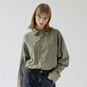 [ARDOROBE] UNISEX DOUBLE POCKET BASIC SHIRT AST193001-KK