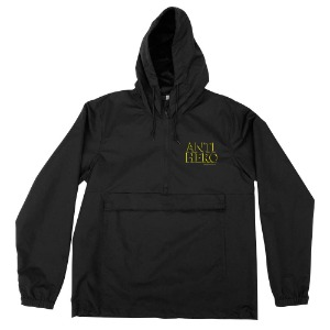[Anti Hero] OUTLINE HERO Pullover Hooded Anorak - BLACK / YELLOW Print 54020045