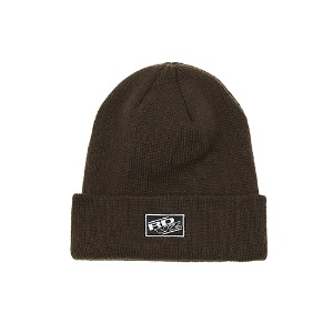 [RENDEZVOUZ] RECTANGLE LABEL BEANIE BROWN