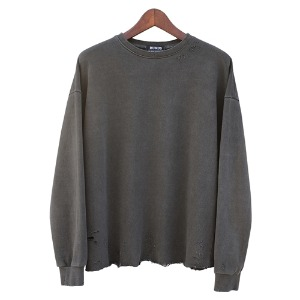[RUNDS] pigment damage crop sweatshirt (charcoal)