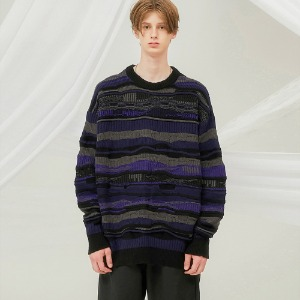 [FLARE] 4mix over knit Sweater (FU-147_Black Multi)