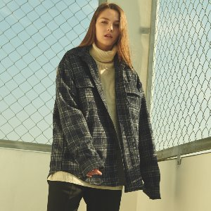 [ANOUTFIT] UNISEX OVERFIT FLANNEL CHECK SHIRT JACKET NAVY