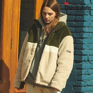 [ANOUTFIT] UNISEX 3M THINSULATE BOA FLEECE JACKET KHAKI
