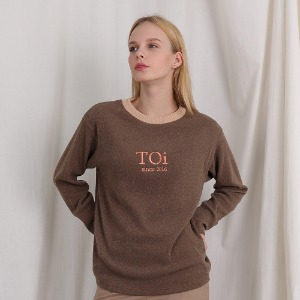 [TOi] NECK POINT LONG T SHIRTS BROWN