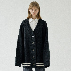 [ARDOROBE] UNISEX DROWING ROSE HEAVY WOOL CADIGAN ACD193001-BK