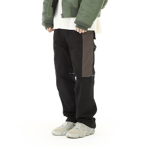 [RENDEZVOUZ] BLOCK WORK PANTS BLACK