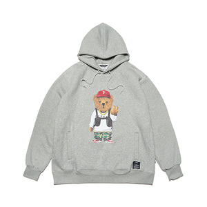 [STIGMA]V BEAR OVERSIZED HEAVY SWEAT HOODIE - GREY