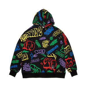 [STIGMA]PAINTING OVERSIZED HEAVY SWEAT HOODIE - BLACK MULTI