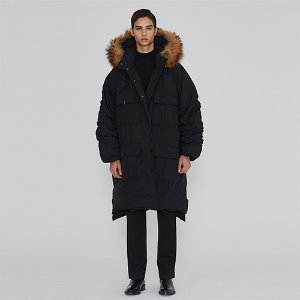 [IRONYPORNO]UNISEX REVERSIBLE REAL RACCOON PARKA IRO007 BLACK