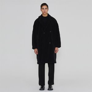 [IRONYPORNO]UNISEX FUR OVERFIT LONG COAT IRO008 BLACK