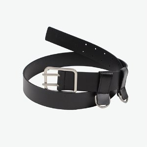 [IRONYPORNO]SIGNATURE LOGO DOUBLE RING BELT IRA008 BLACK