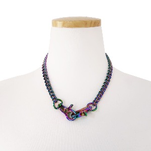 [TWENTYONEAUGUST]MONOGRAM CONNECTOR CHOKER - MULTI