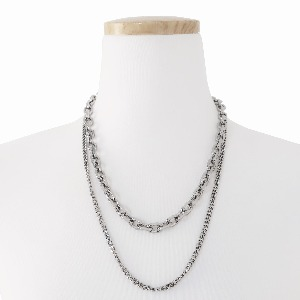 [TWENTYONEAUGUST]DOUBLE CHAIN NECKLACE - SILVER