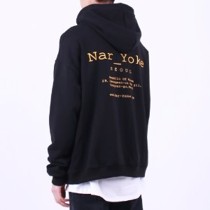 [Nar_Yoke] Signature Basic Overfit Hoodie - Black / Yellow