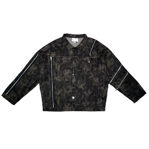 [WOOVING] STAINED DENIM JACKET - BLACK