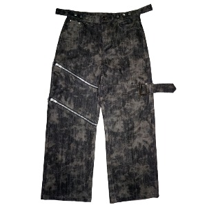 [WOOVING] STAINED DENIM PANTS - BLACK