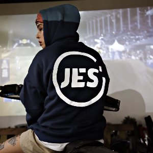 [JES'] SIGNATURE HOODY - DEEP BLUE/ BLACK