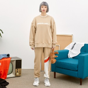 [언더라벨] UNBALANCED SWEAT PANTS_BEIGE