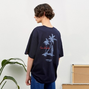 [언더라벨] PALM TREE BEAR T-SHIRT_NAVY