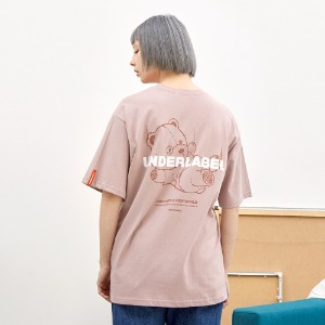 [언더라벨] DIVING BEAR T-SHIRT_INDIAN PINK
