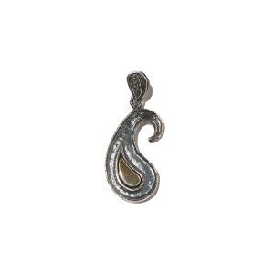 [KRUCHI] Paisley Texture necklace (Silver,Brass)
