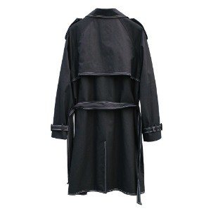 [RUNDS] stitch double trench coat (black)