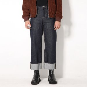 [XTONZ] XP53 FATIGUE ROLL-UP DENIM PANTS (BLUE)