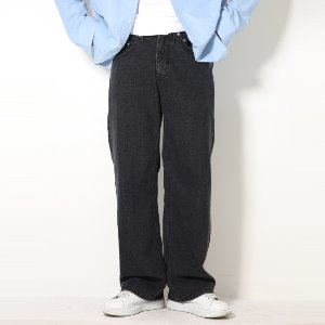 [XTONZ] XP51 BIG WIDE DENIM PANTS (BLACK)