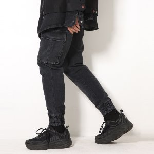 [XTONZ] XP52 CARGO JOGGER DENIM PANTS (BLACK)