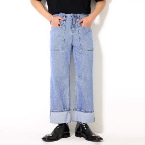 [XTONZ] XP53 FATIGUE ROLL-UP DENIM PANTS (LIGHT BLUE)