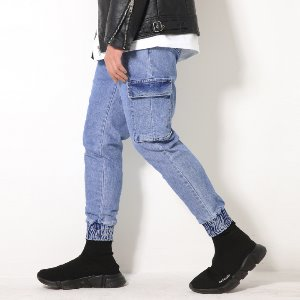 [XTONZ] XP52 CARGO JOGGER DENIM PANTS (BLUE)