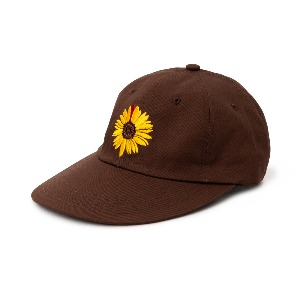 [NONAMENEED] Brown sunflower embroidered 6 panel cap
