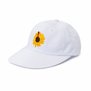 [NONAMENEED] White sunflower embroidered 6 panel cap