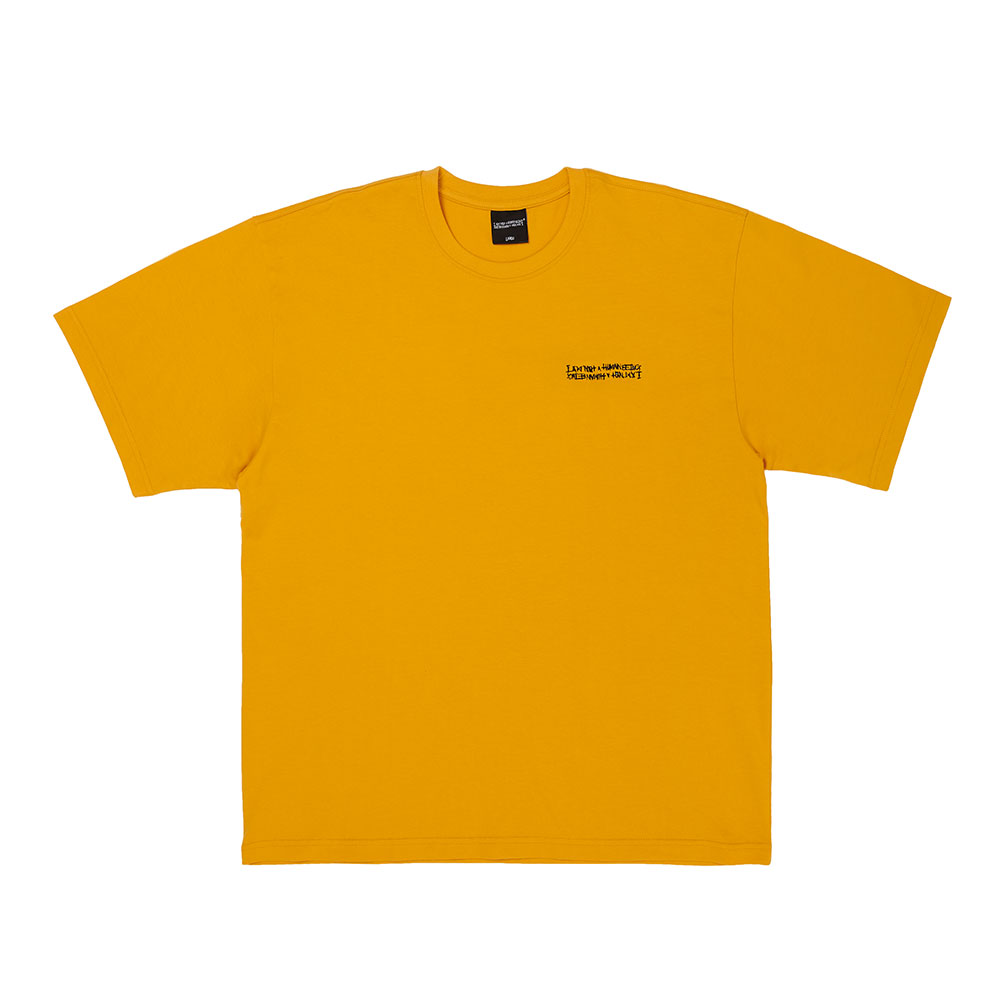 [아임낫어휴먼비잉] Embroidery Front Short Sleeve T-Shirt - MUSTARD