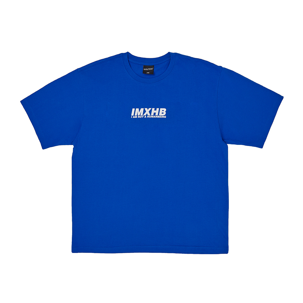 [아임낫어휴먼비잉] Word Short Sleeve T-Shirt - BLUE