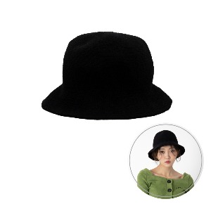 [BLUE PIE] Knitting Bucket Hat - BLACK