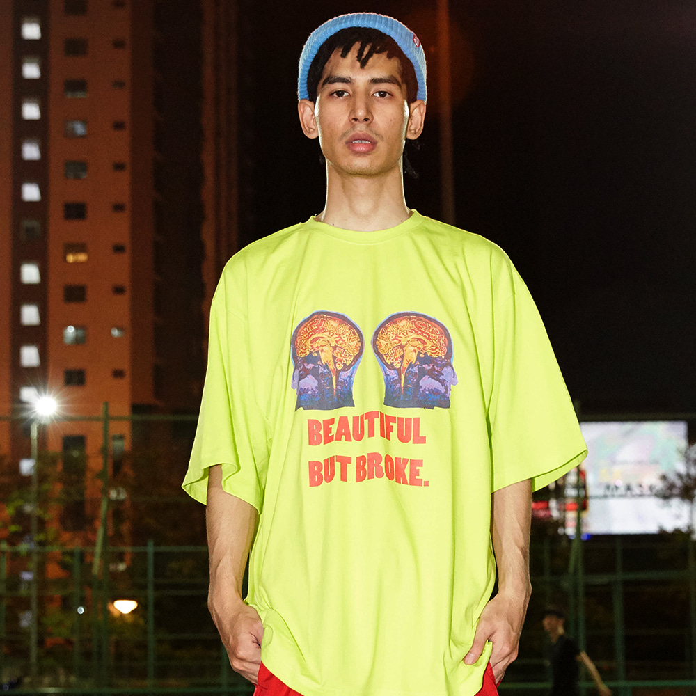 [아임낫어휴먼비잉] Double Brain Short Sleeve T-Shirt - NEON